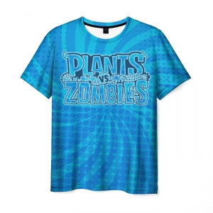 Collectibles Men'S T-Shirt Blue Print Plants Vs Zombies Title