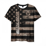 Collectibles Men'S T-Shirt Metal Gear Flag Print Black