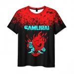 Merchandise Men'S T-Shirt Cyberpunk 2077 Samurai Figure Print