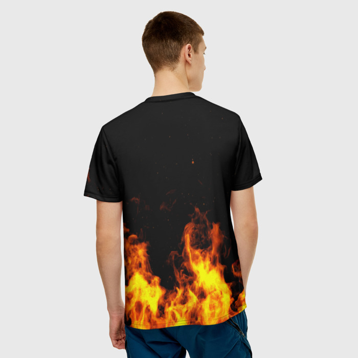 Merch Men'S T-Shirt Flame Rainbow Six Siege Print Black