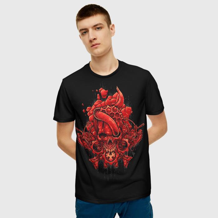 Merch Men T-Shirt Black Print Gears Of War Game