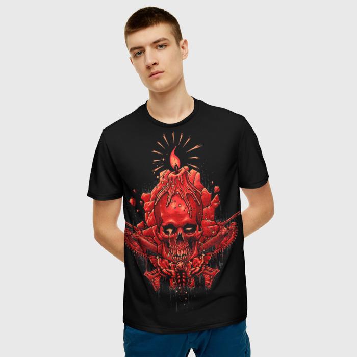 Merchandise Men T-Shirt Gears Of War Black Skull Image