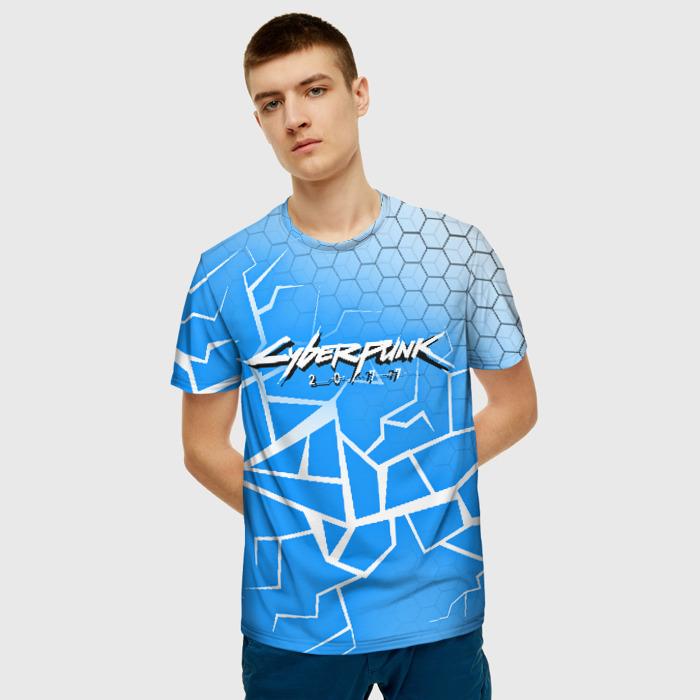 Merchandise Men T-Shirt Blue Cyberpunk 2077 Title