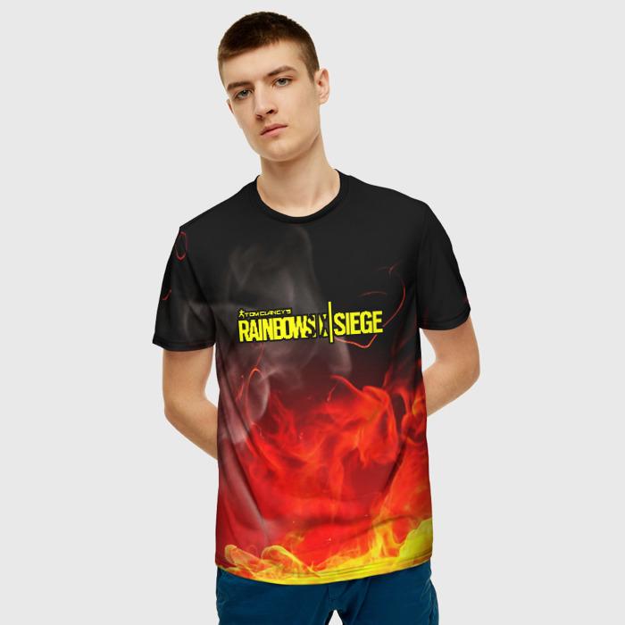 Merch Men'S T-Shirt Fire Print Black Rainbow Six Siege