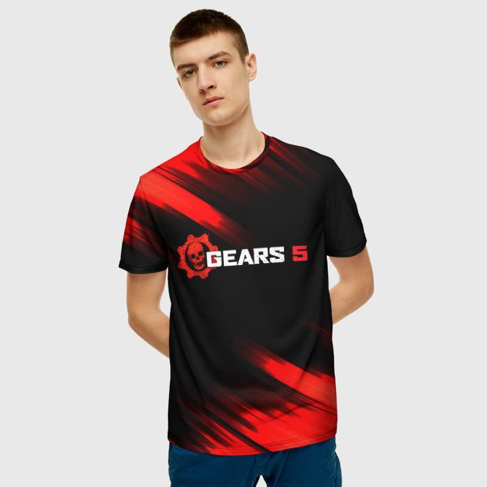 Merch Men'S T-Shirt Print Black Gears Of War Apparel