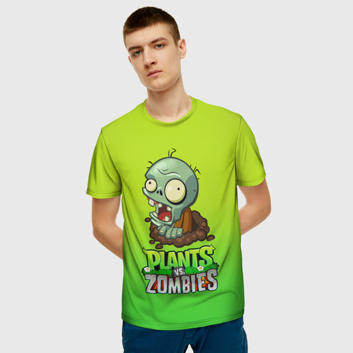 Merch Men'S T-Shirt Green Gradient Plants Vs Zombies Merch