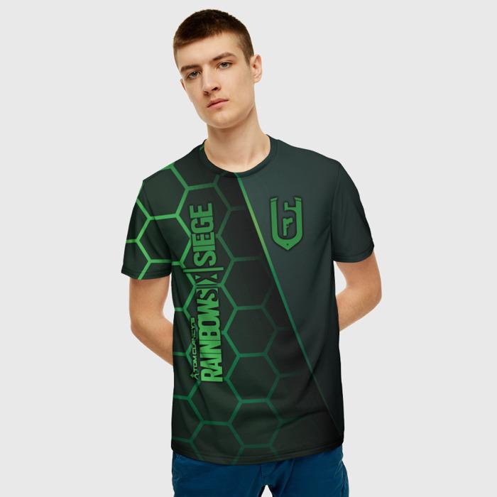 Merch Men'S T-Shirt Lettering Title Rainbow Six Siege