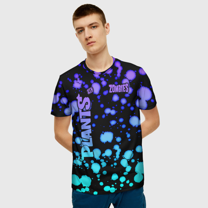 Merchandise Men'S T-Shirt Gradient Black Plants Vs Zombies Print