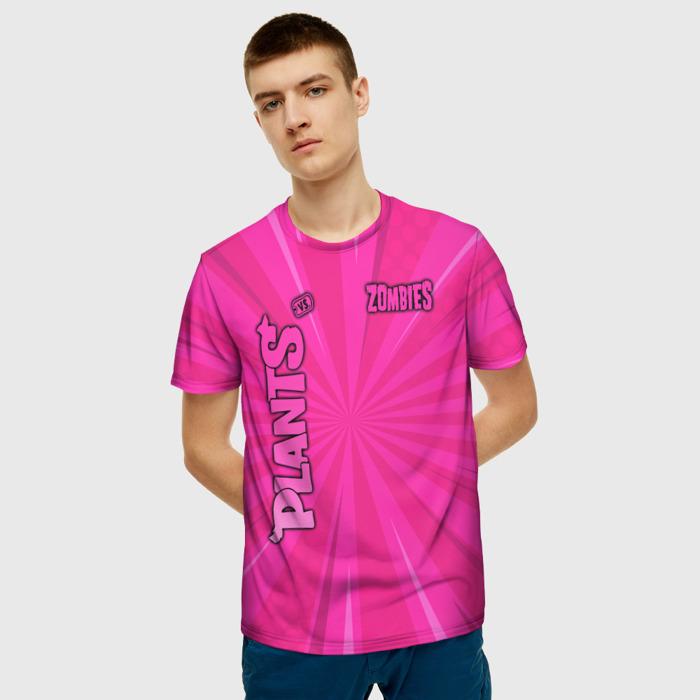 Merch Men'S T-Shirt Pink Plants Vs Zombies Design Text