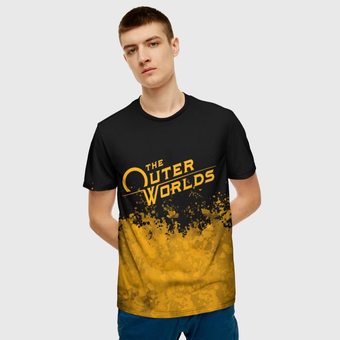 Merch Men'S T-Shirt Orange Title The Outer Worlds Print