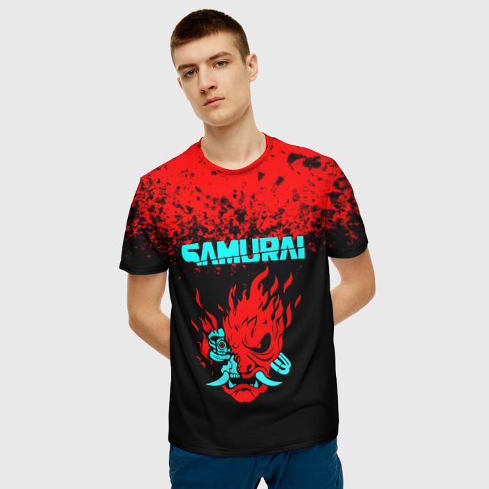 Merch Men'S T-Shirt Cyberpunk 2077 Samurai Figure Print