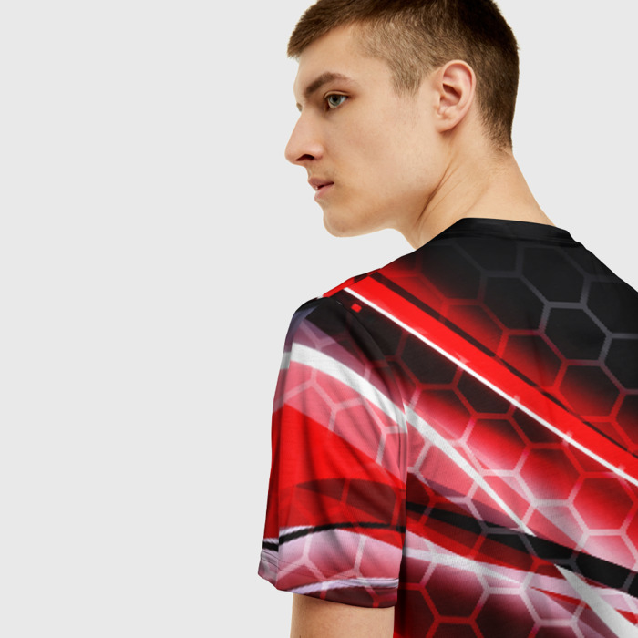 Merch T-Shirt Gears Of War Red Stripes Logo Skeleton