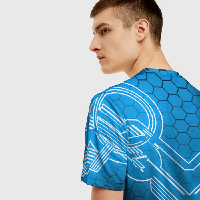 Merchandise Men T-Shirt Blue Print Cyberpunk 2077 Emblem