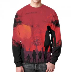 Merch Walking Zombie Sweatshirt Sunset