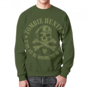 Merch Sweatshirt Zombie Hunter Emblem Green Print