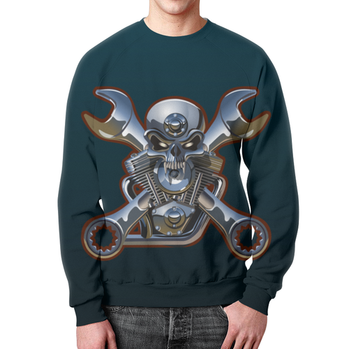 Merch Mechanic Sweatshirt Metal Skull