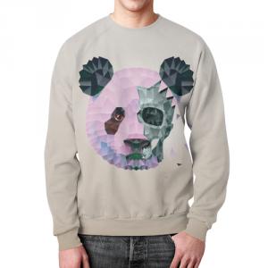 Merch Sweatshirt Polygonal Panda Cream Print
