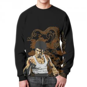 Merch Sweatshirt Bruce Lee Face Print Black