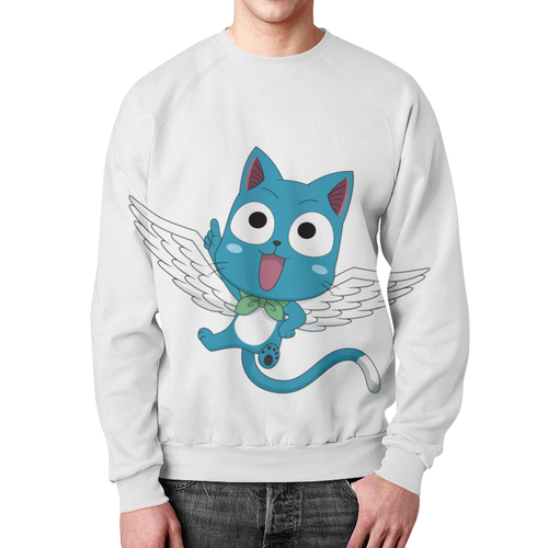 Merchandise Sweatshirt Happy Print White Design