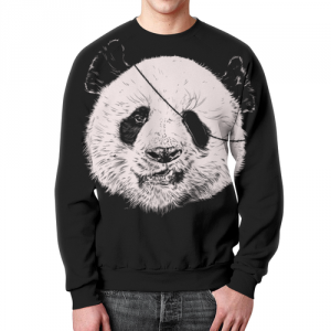 Merch Sweatshirt Panda Pirate Black Print