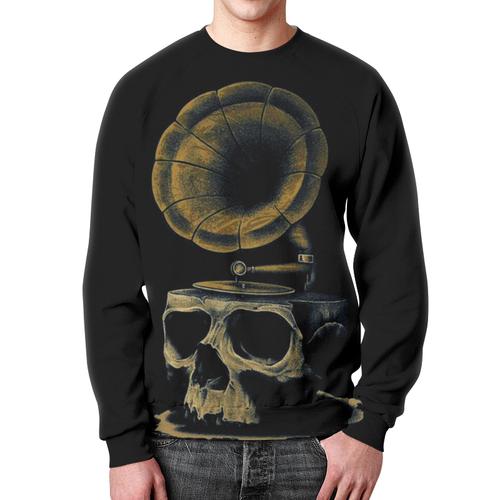 Merch Sweatshirt Skull Art Gramophone Print Black