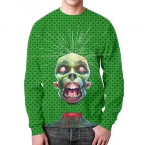 Merch Sweatshirt Zombies Design Green Print