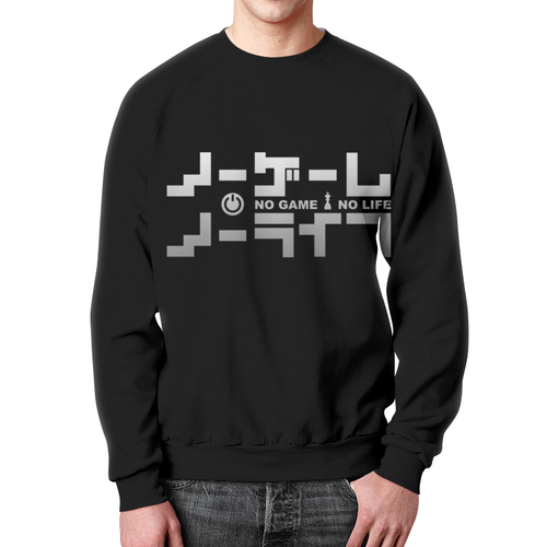 Merchandise Black Sweatshirt No Game No Life Print