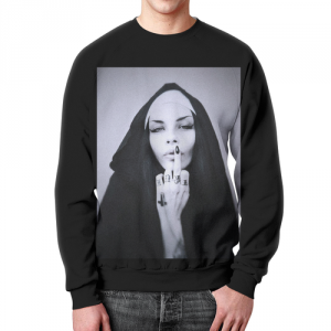 Collectibles Sweatshirt Nun Middle Finger Tattoes