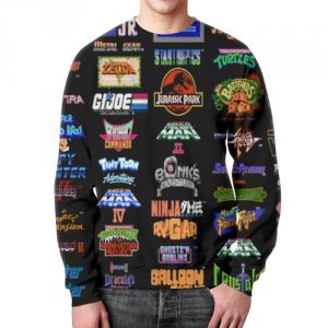 Collectibles Sweatshirt Retro Games Pattern Black Print