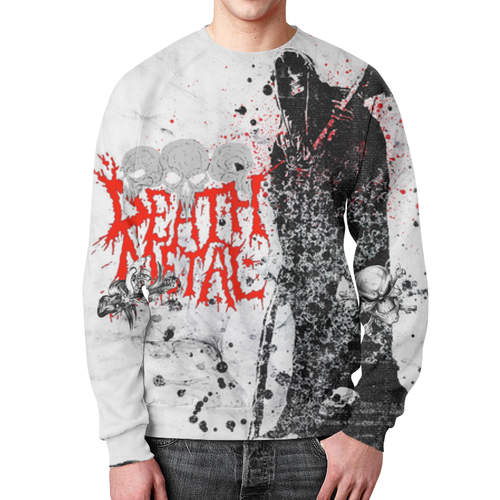 Merch Sweatshirt Death Metal Graffiti White