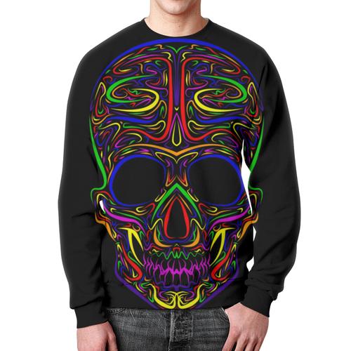 Merch Neon Lights Sweatshirt Skeleton Skull Art