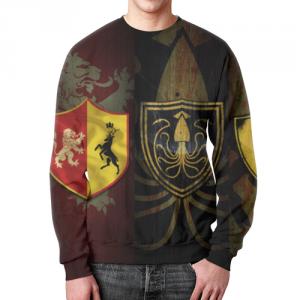 Merch Sweatshirt Game Of Thrones Symbols Print