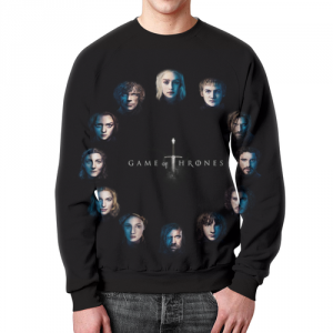 Merch Sweatshirt Game Of Thrones Characters Faces Print