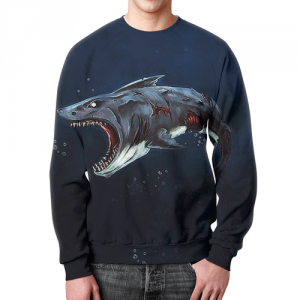 Merch Sweatshirt Zombie Shark Print Design