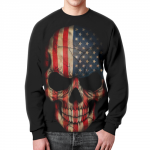 Merch Sweatshirt Us Flag Skull Art Skeleton