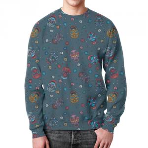 Merchandise Sweatshirt Floral Skull Pattern Jeans