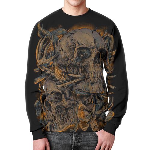 Merchandise Sweatshirt Psychedelic Print Skull Art Black