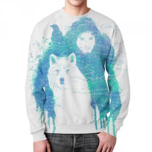 Merch Jon Snow Sweatshirt Game Of Thrones White Wolf
