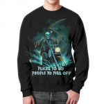 Merch Sweatshirt Skull Rider Places To Go People To Piss Off Black
