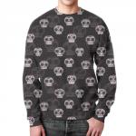Merchandise Sweatshirt Skulls Pattern Design Black