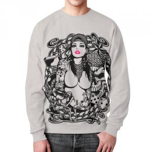 Merchandise Sweatshirt Tattoo Girl Design White