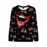 Merch Joker Smile Sweatshirt Laughter Pattern Black Sweater