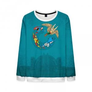 Merchandise Justice League Sweatshirt Retro Blue Sweater