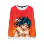 Collectibles Mens Wonder Woman Sweatshirt Orange Sweater