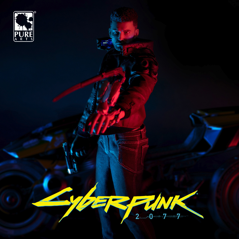 Merchandise Cyberpunk 2077 Statue Male Motorcycle Figure Genuine