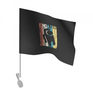 Merch - Car Flag Kinda Sus Among Us Black