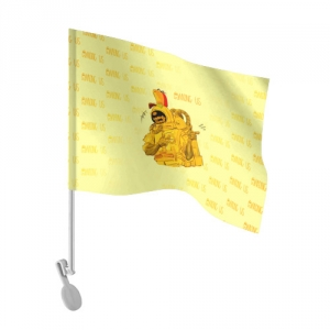Merchandise - Car Flag Among Us Yellow Imposter Pointing