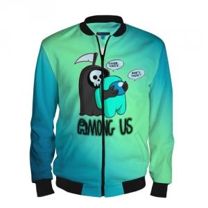 Merchandise Men'S Baseball Jacket Among Us Death Behind Cyan