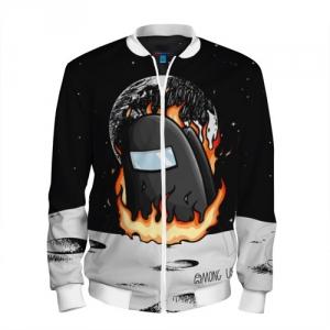 Merchandise Black Men'S Baseball Jacket Among Us Fire