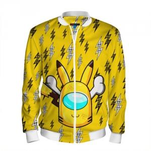 Merchandise Yellow Men'S Baseball Jacket Among Us Pikachu